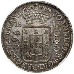 BRAZIL: Joao, regent, 1799-1816, AR 960 reis, 1813-R. NGC MS61