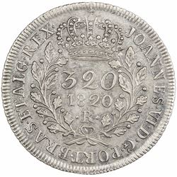 BRAZIL: Joao VI, 1818-1822, AR 320 reis, 1820-R. EF