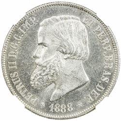 BRAZIL: Pedro II, 1831-1889, AR 2000 reis, 1888. NGC MS64