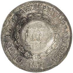 BRAZIL: AR 1000 reis, 1864. AU