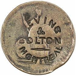 CANADA: AR 1/2 penny token (6.12g), ND (ca. 1865). EF