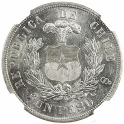 CHILE: Republic, AE peso, 1883-So. NGC MS63