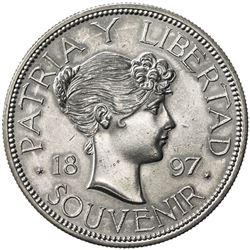 """CUBA: AR """"souvenir"""" peso (22.44g), 1897. AU"""