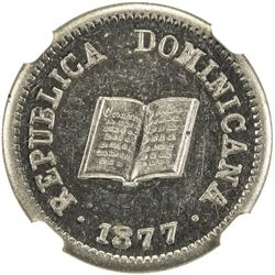DOMINICAN REPUBLIC: 5 centavos, 1877. NGC MS62