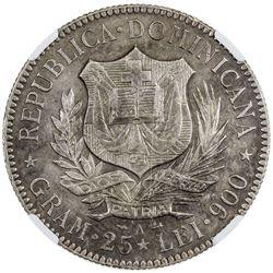 DOMINICAN REPUBLIC: AR 5 francos, 1891-A, KM-12, Paris mint, NGC graded AU50