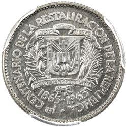 DOMINICAN REPUBLIC: Republic, AR 10 centavos, 1963. PCGS SP