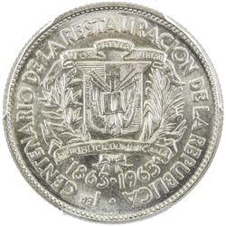 DOMINICAN REPUBLIC: Republic, AR 25 centavos, 1963. PCGS SP