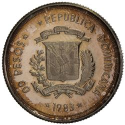 "DOMINICAN REPUBLIC: AR ""00 pesos"" pattern (3.17g), 1983. NGC PF65"