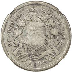 GUATEMALA: Republic, AR 25 centavos, 1882. NGC VF20