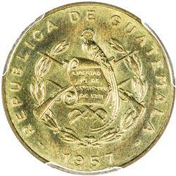 GUATEMALA: Republic, 1 centavo, 1957. PCGS SP