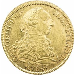 MEXICO: Carlos III, 1759-1788, AV 8 escudos (27.00g), 1784-Mo. AU
