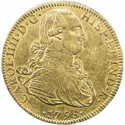 MEXICO: Carlos IV, 1788-1808, AV 8 escudos (26.91g), 1798-Mo. VF-EF