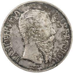 MEXICO: Maximilian, 1864-1867, AR peso, 1866-Mo. EF