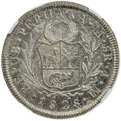 PERU: Republic, AR 8 reales, 1828 LMA. NGC MS61