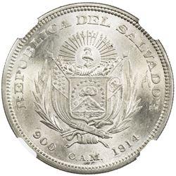 SALVADOR: AR peso, 1914. NGC MS65