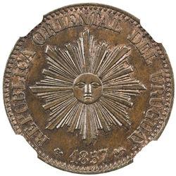 URUGUAY: Republic, AE 5 centesimos, 1857. NGC MS64