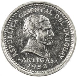 URUGUAY: Republic, 2 centesimos, 1953. PCGS SP