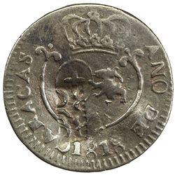 VENEZUELA: Fernando VII, 1808-1823, AE 1/4 real (cuarto) (1.91g), Caracas, 1818. VF