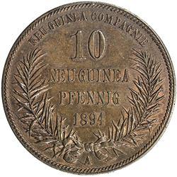 GERMAN NEW GUINEA: Wilhelm II, 1888-1914, AE 10 pfennig, 1894-A. AU