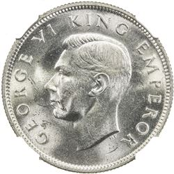 NEW ZEALAND: George VI, 1936-1952, AR florin, 1937. NGC MS63