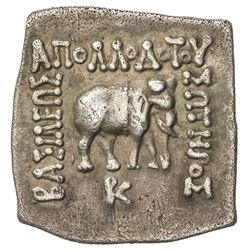 INDO-GREEK: Apollodotus I, ca. 180-160 BC, AR square drachm (2.38g). EF