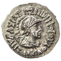 INDO-GREEK: Antialcades, ca. 120-110 BC, AR drachm (2.43g). AU