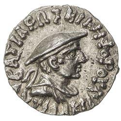 INDO-GREEK: Antialcades, ca. 120-110 BC, AR drachm (2.44g). AU