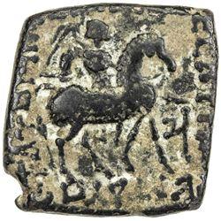 INDO-SCYTHIAN: Kharohostes, ca. 1-5 AD, AE square unit (7.16g). VF