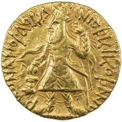 KUSHAN: Kanishka I, ca. 127-147, AV dinar (7.97g). EF