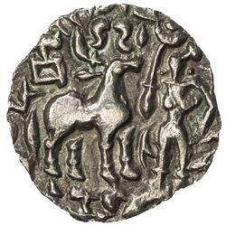 KUNINDA: Amughabhuti, late 2nd century BC, AR drachm (2.07g). EF