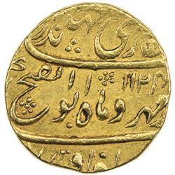 MUGHAL: Jahandar, 1712-1713, AV mohur (10.86g), Shahjahanabad, AH1124 year one (ahad). EF