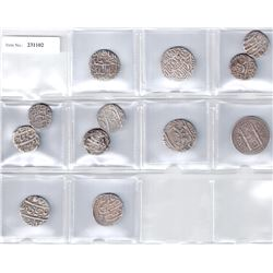 MUGHAL:LOT of 9 Mughal and 3 Princely State silver rupees