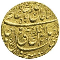 AWADH: Wajid Ali Shah, 1847-1856, AV ashrafi (10.70g), Lucknow, AH1265 year 3. EF
