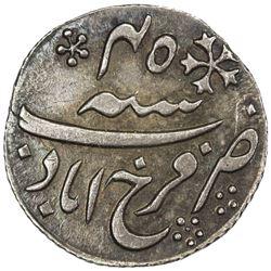 BENGAL PRESIDENCY: AR 1/4 rupee (2.78g), Farrukhabad, frozen year 45. AU