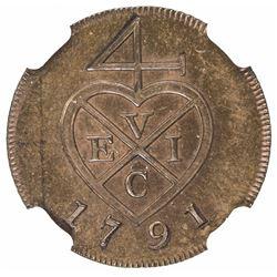 BOMBAY PRESIDENCY: AE 1/2 pice, [Soho mint], 1791. NGC PF63