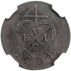 BOMBAY PRESIDENCY: AE 1/2 pice (3.27g), [Soho mint], 1791. NGC PF62