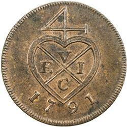 BOMBAY PRESIDENCY: AE 1/2 pice, Soho mint, 1791. PF