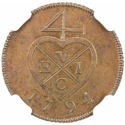 BOMBAY PRESIDENCY: AE 1/2 pice, [Soho mint], 1794. NGC PF63