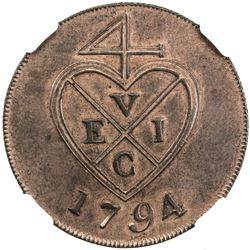 BOMBAY PRESIDENCY: AE 2 pice (13.21g), [Soho mint], 1794. NGC UNC