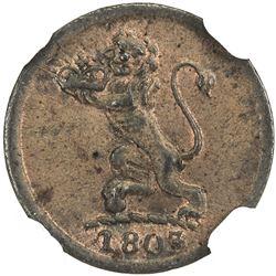 MADRAS PRESIDENCY: AE cash (0.65g), 1803. NGC MS62