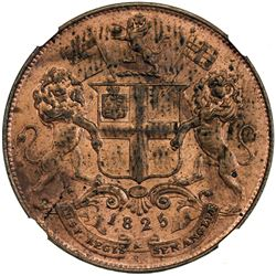 MADRAS PRESIDENCY: AE 4 pies, 1825//AH1240. NGC MS62