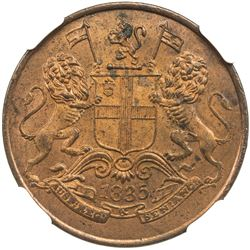 BRITISH INDIA: William IV, 1830-1837, AE 1/4 anna, 1835(c). NGC MS63