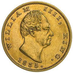 BRITISH INDIA: William IV, 1830-1837, proof restrike, AV 2 mohur, 1835(c), NGC Proof 58