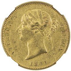 BRITISH INDIA: Victoria, Queen, 1837-1876, AV mohur, 1841. NGC AU