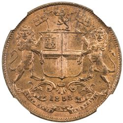 BRITISH INDIA: Victoria, Queen, 1837-1876, AE 1/4 anna, 1858. NGC MS65