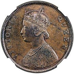 BRITISH INDIA: Victoria, Queen, 1837-1876, AE 1/2 anna, 1862(m). NGC MS63