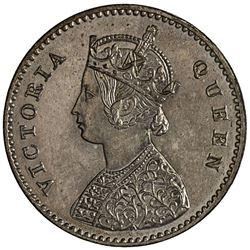 BRITISH INDIA: Victoria, Queen, 1837-1876, AR 2 annas, 1862(b). PCGS PF64