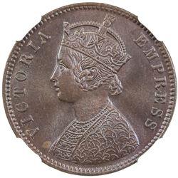 BRITISH INDIA: Victoria, Empress, 1876-1901, 1/4 anna, 1885-C. NGC MS65