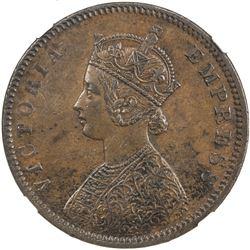 BRITISH INDIA: Victoria, Empress, 1876-1901, AE 1/2 anna, 1877(c)