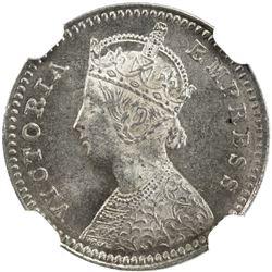 BRITISH INDIA: Victoria, Empress, 1876-1901, AR 2 annas, 1878(c). NGC MS63